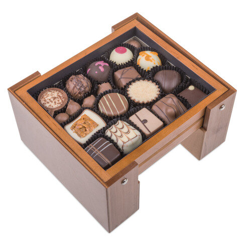 prestigious chocolate, wooden box with chocolate pralines