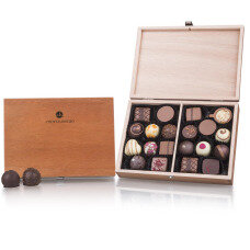 wooden box with chocolate, praline box