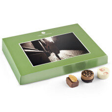 chocolate postcard, chocolate pralines with a picture