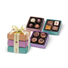 hand made pralines in colourful boxes