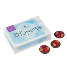 crunchy chocolate discs with whole almonds and dried raspberries