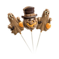 Set of three milk chocolate lollipops for Halloween